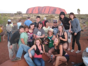 The group in front of the rock! Sun starting to set:)