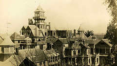 Before the 1906 Earthquake that brought down the tower, scared Sarah into sealing off several of her favorite rooms to appease the angry spirits, she believed punished her. Image courtesy of doctorserone via Flickr